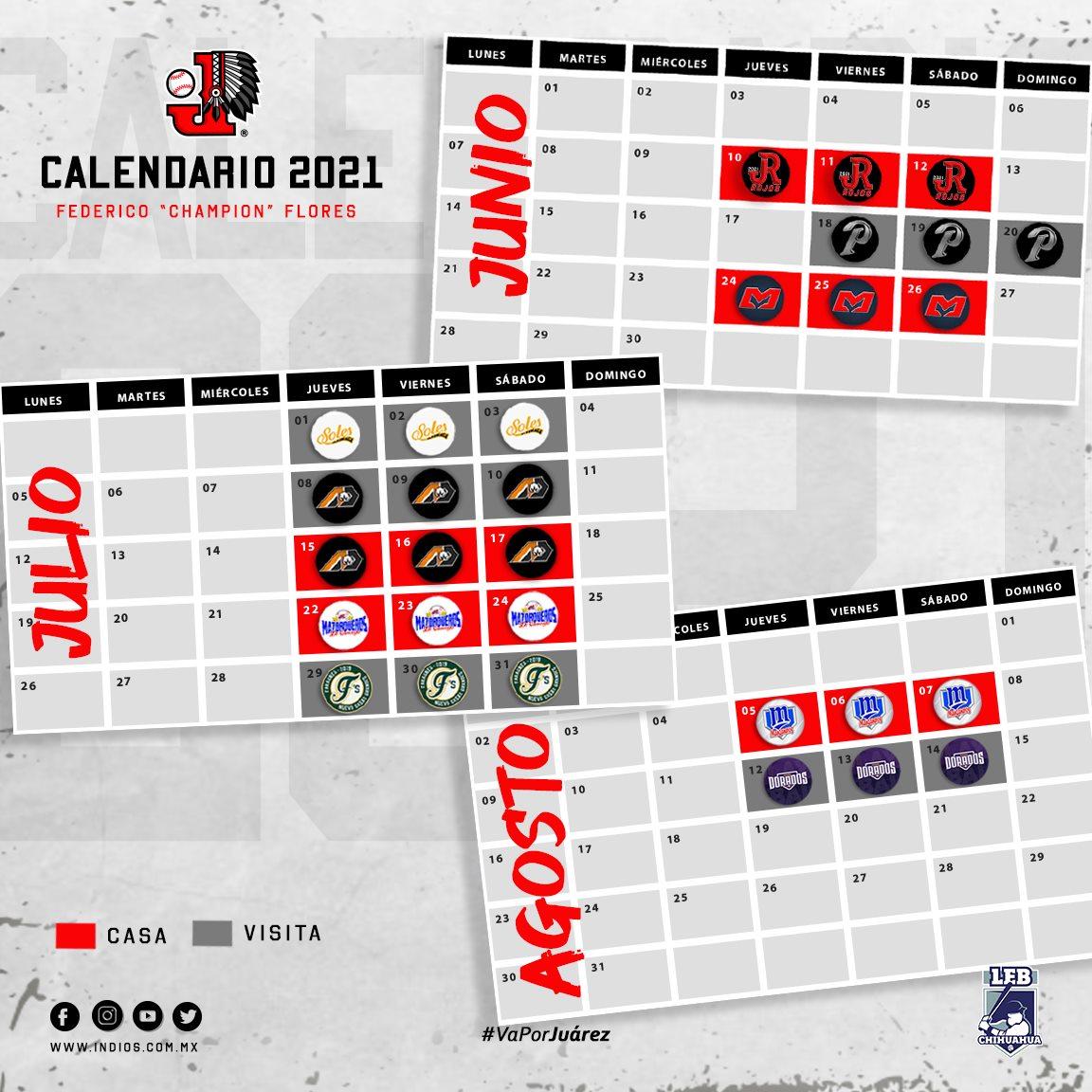 rol-calendario-juegos-campeonato-beisbol-chihuahua-2021-indios-juarez-actualizado