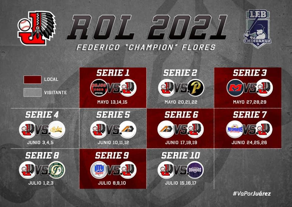 rol-calendario-juegos-campeonato-beisbol-chihuahua-2021-indios-juarez