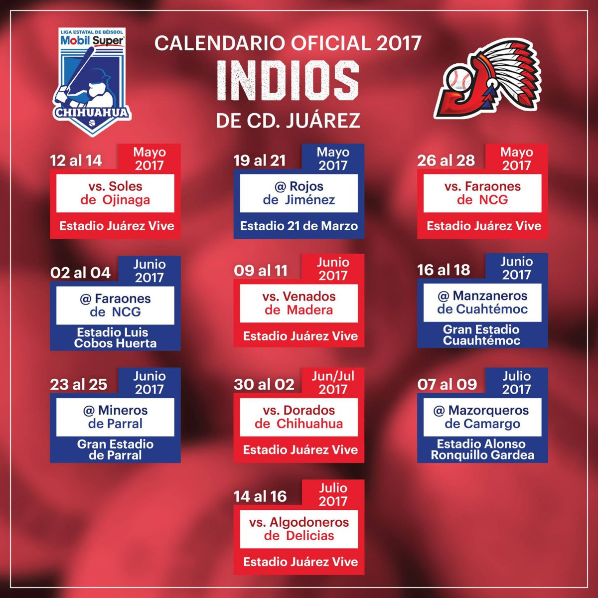 indios calendario beisbol chihuahua 2017