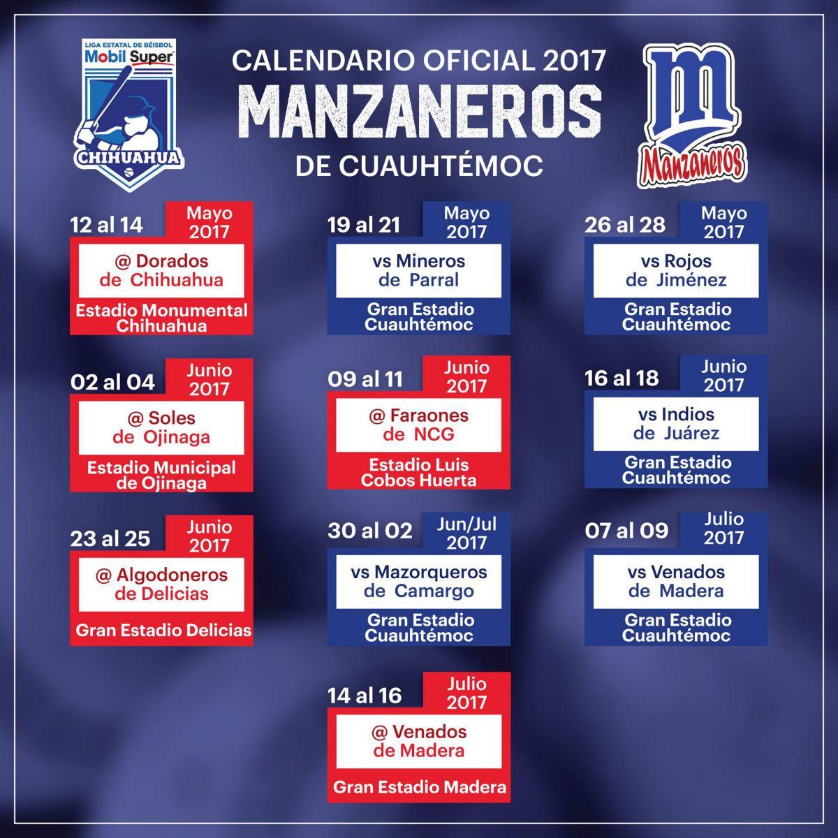 manzaneros calendario beisbol chihuahua 2017