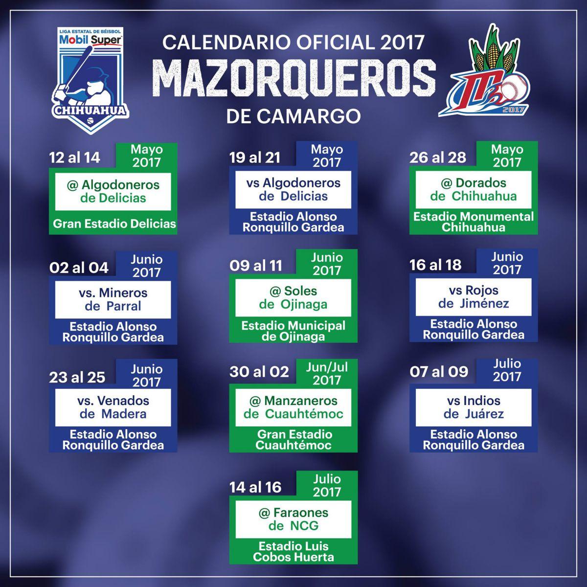 mazorqueros calendario beisbol chihuahua 2017