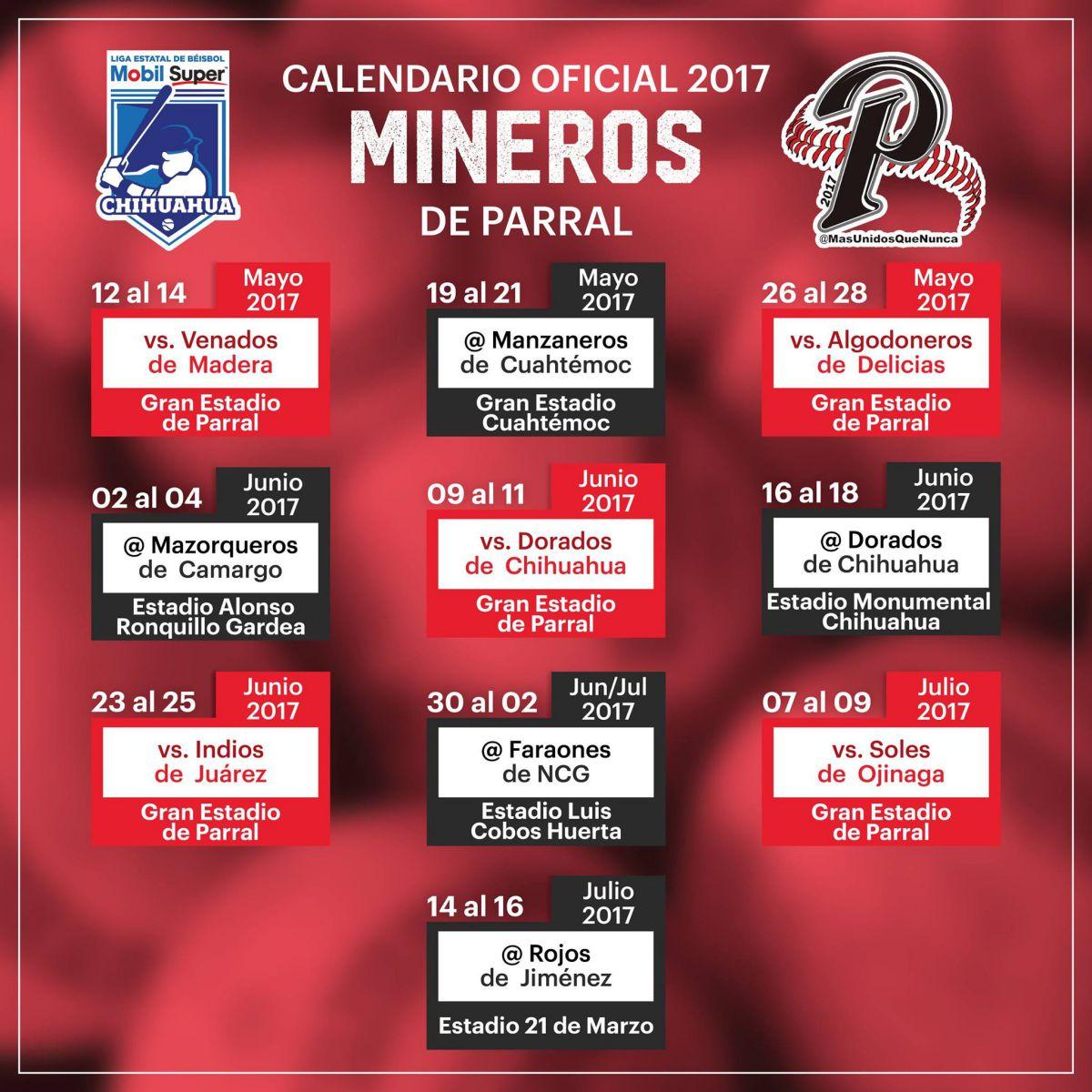mineros calendario beisbol chihuahua 2017