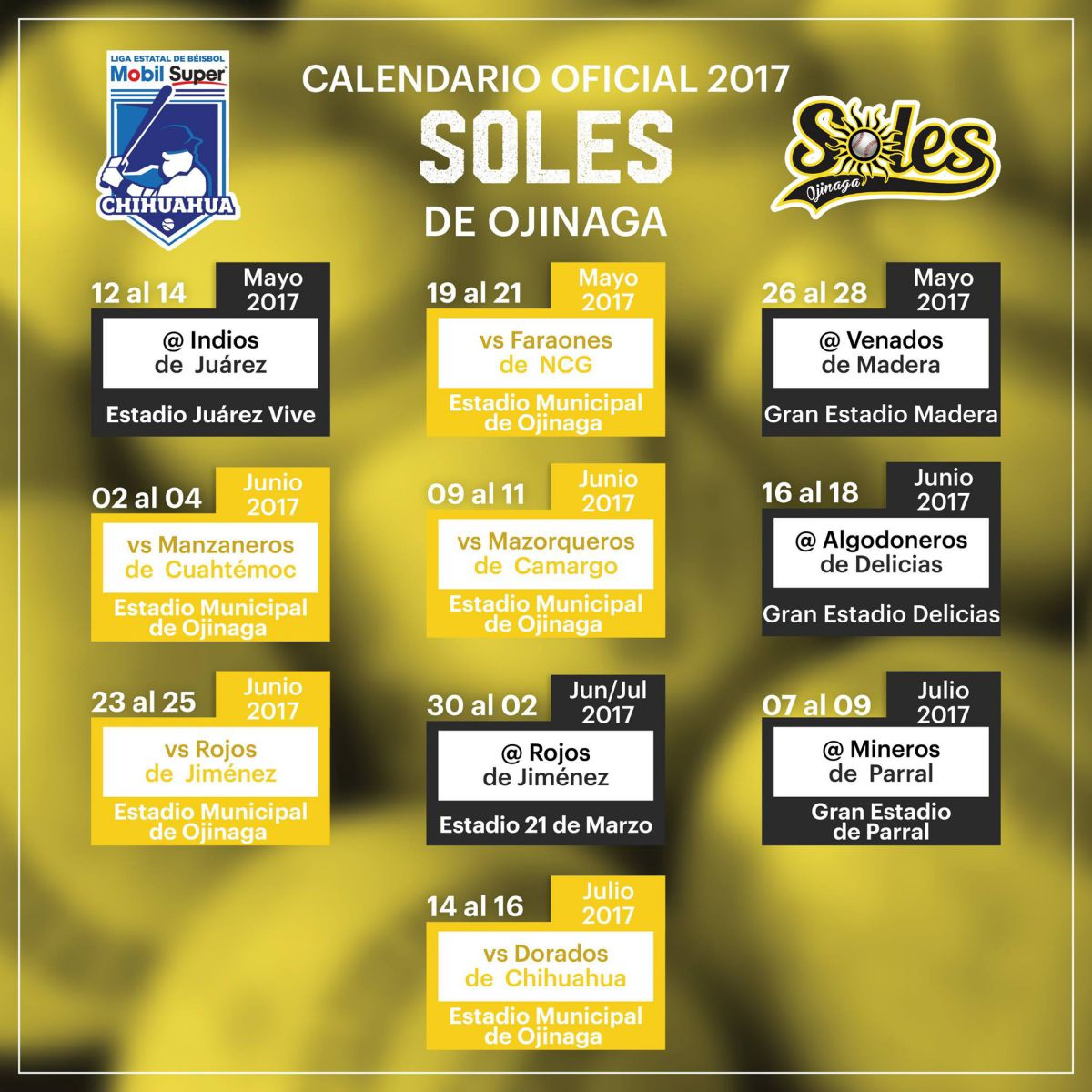soles calendario beisbol chihuahua 2017