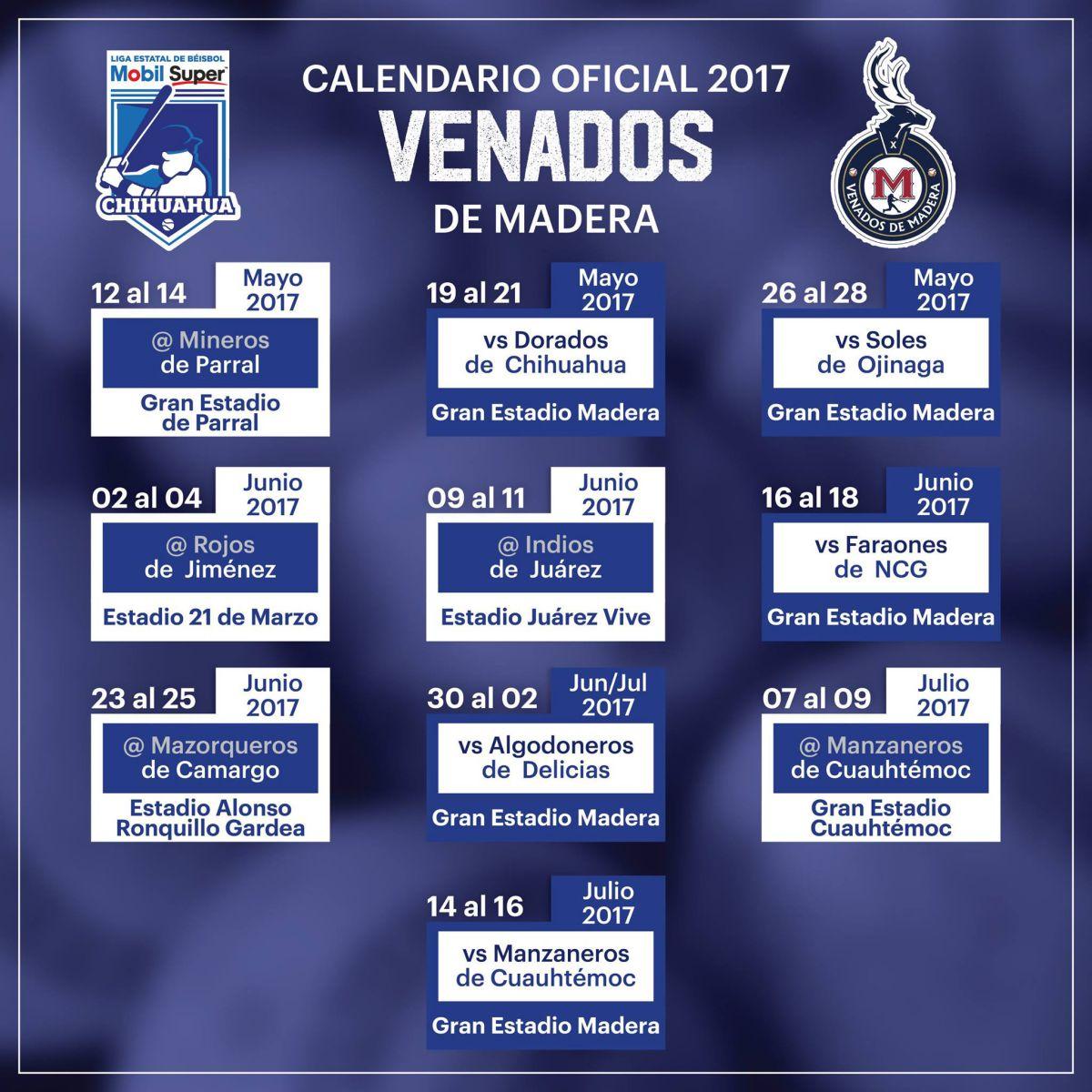 vendados calendario beisbol chihuahua 2017
