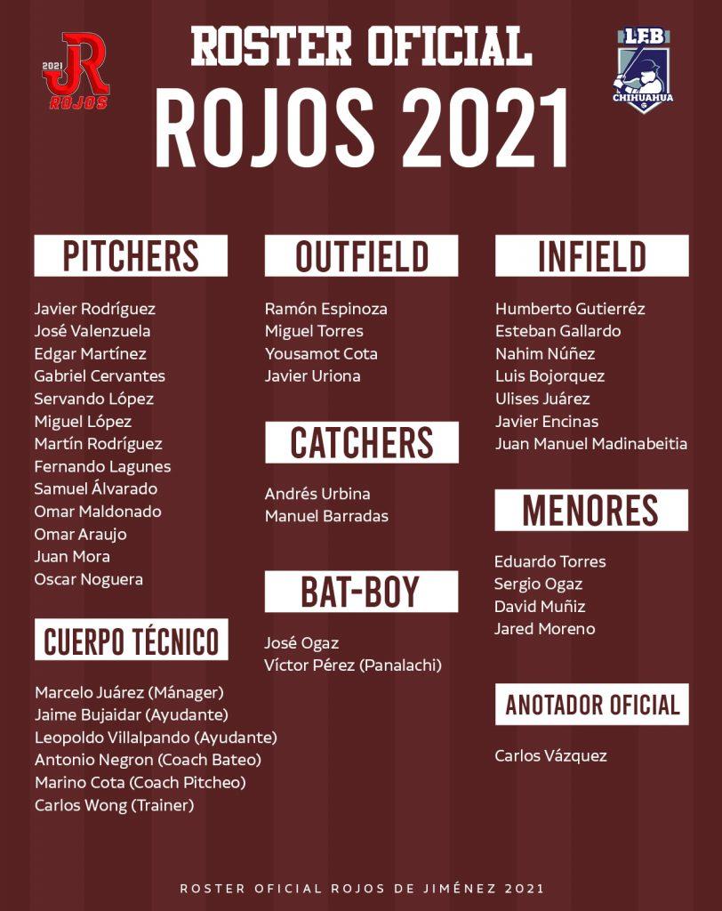 roster-temporada-2021-campeonato-estatal-besibol-chihuahua-rojos-jimenez