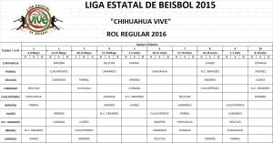 Rol Regular 2016 Beisbol Chihuahua Oficial